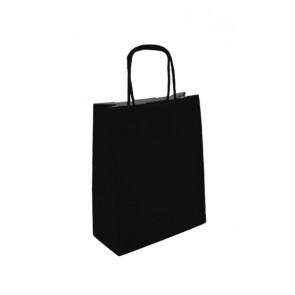 Papieren draagtas 32x14x42cm zwart (bxdxh) per 50 stuks