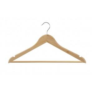 Geknikte kledinghanger 44 cm met broeklat Blank gelakt hout