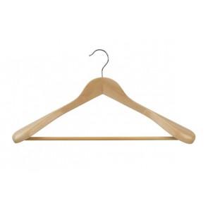 Kleerhanger 45 cm met brede schouders en broeklat Blank gelakt
