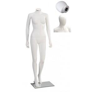 Onbreekbare dames etalagepop H2 met hoofd wit