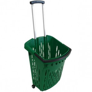 Trolley winkelmand groen 38 liter verrijdbaar thumbnail