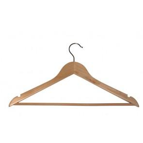 Vlakke kledinghanger 44 cm met broeklat Blank gelakt hout