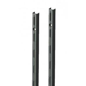 Wandrek rail zwart enkele perforatie per paar 200cm lang
