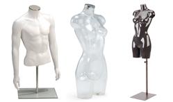 torso`s in wit transparant en zwart dames heren